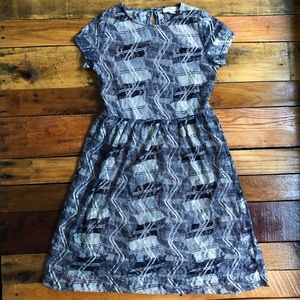 Elodie Navy and White Lace Dress with Tan Slip